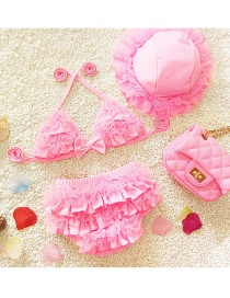 Lovely Pink Pure Color Decorated Simple Child Swimwear (with Hat)