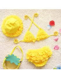 Lovely Yellow Pure Color Decorated Simple Child Swimwear (with Hat)