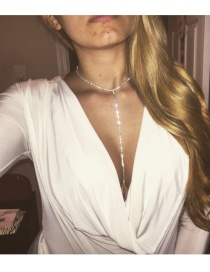 Vintage Silver Color Pure Color Decorated Simple Long Chain Choker