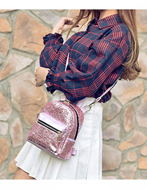 Trendy Pink Paillette Decorated Pure Color Simple Backpack