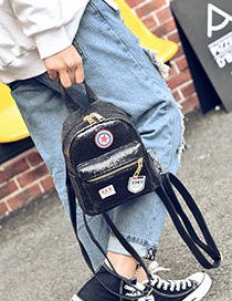 Fashion Black Badge Pattern Decorated Pure Color Simple Backpack
