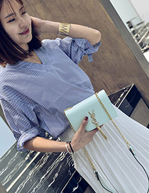 Fashion Green Tassel Decorated Pure Color Square Shape Shoulder Bag