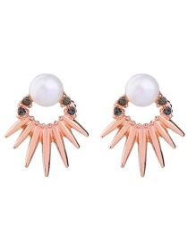 Fashion Gold Color Pearls&diamond Decorated Color Matching Earrings