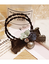 Fashion Navy Flower&bowknot Decorated Doubler Layer Hair Band