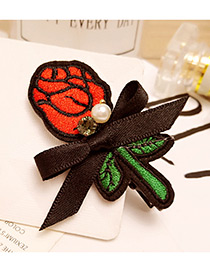Fashion Orange Diamond&embroidery Flower Decorated Color Matching Hair Pin