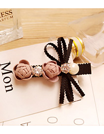 Fashion Pink Pearls&flower Decorated Color Matching Hairpin