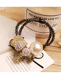 Elegant White Round Ball&pearls Decorated Double Layer Hair Band