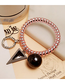 Fashion Gun Black Triangle Shape&pearl Decorated Color Matching Hair Band