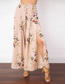 Casual Coffee Painting Flower Pattern Decorated Split Wide Leg Pant