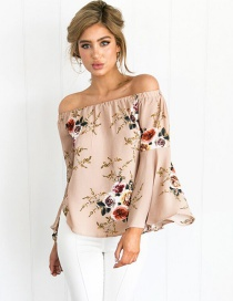Fashion Coffee Painting Flower Decorated Off Shoulder Long Sleeve Shirt