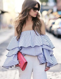 Fashion Blue Strip Pattern Decorated Off Shoulder Flare Sleeve Shirt