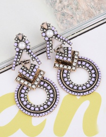 Vintage Purple Round Shape Diamond Decorated Hollow Out Design Earrings