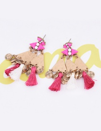 Elegant Pink Tassel Pendant Decorated Triangle Shape Simple Earrings