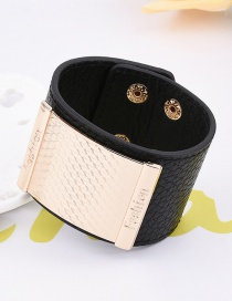 Fashion Black Square Shape Decorated Pure Colr Simple Width Bracelet