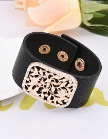 Fashion Black Flower Decorated Hollow Out Design Width Bracelet