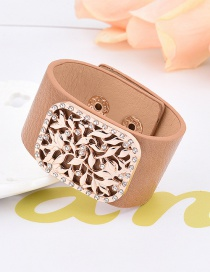 Fashion Brown Flower Decorated Hollow Out Design Width Bracelet