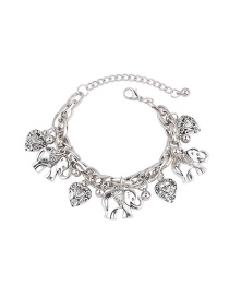 Elegant Silver Color Elephant Pendant Decorated Pure Color Simple Bracelet