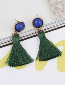 Elegant Green Tassel Pendant Decorated Color Matching Simple Earrings