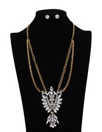Fashion Gold Color Oval Shape Diamond Decorated Color Matching Jewelry Sets