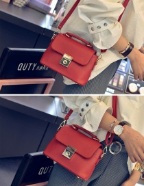 Fashion Red Metal Square Shape Decorated Simple Pure Color Shoulder Bag