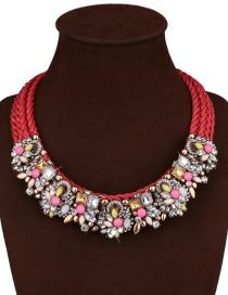 Fashion Red+pink Geometric Shape Diamond Decorated Flower Shape Design Necklace