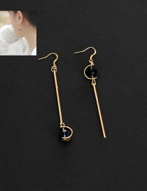 Fashion Black Vertical Shape Pendant Decorated Asymmetric Earrings