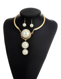 Exaggerate White Round Shape Decorated Simple Opening Jewelry Sets