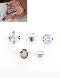 Fashion Silver Color Irregularity Gemstone Decorated Simple Rings(5pcs)