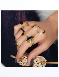 Fashion Gold Color Irregularity Gemstone Decorated Simple Rings(5pcs)