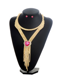 Fashion Gold Color+pink Hear Shape Diamond Decorated Tassel Design Jewelry Sets