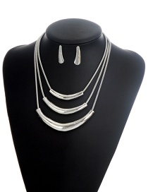 Fashion Silver Color Pure Color Decorated Multi-layer Simple Jewelry Sets