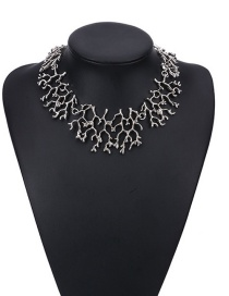 Fashion Silver Color Branch Decorated Hollow Out Pure Color Choker