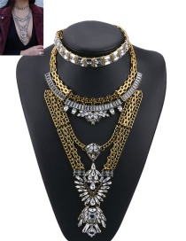 Fashion Gold Color Geometric Shape Diamond Decorated Color Matching Jewelry Sets