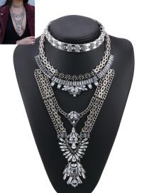 Fashion Silver Color Geometric Shape Diamond Decorated Pure Color Jewelry Sets