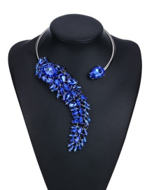 Fashion Blue Water Drop Diamond Decorated Pure Color Simple Necklace