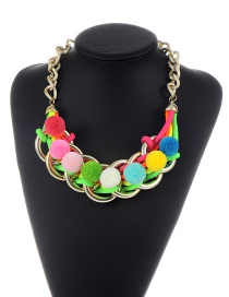 Trendy Multi-color Fuzzy Balls Pendant Decorated Color Matching Hand-woven Necklace