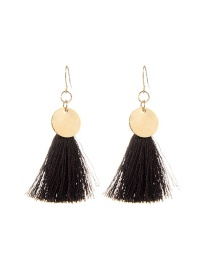 Fashion Brown Long Tassel Pendant Decorated Pure Color Earrings