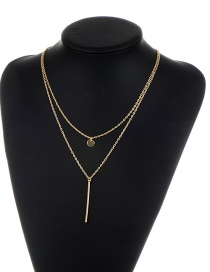 Fashion Gold Color Vertical Shape Decorated Pure Color Double Layer Necklace