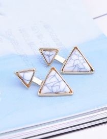 Fashion White Geometric Shape Gemstone Decorated Pure Color Earrings