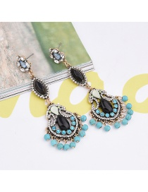 Exaggerated Blue Round Balls&diamond Decorated Color Matching Earrings