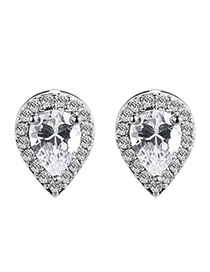 Elegant White Waterdrop Shape Diamond Decorated Color Matching Earrings