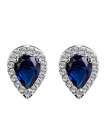 Elegant Sapphire Blue Waterdrop Shape Diamond Decorated Color Matching Earrings
