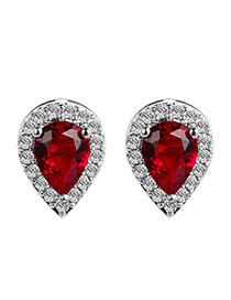 Elegant Red Waterdrop Shape Diamond Decorated Color Matching Earrings