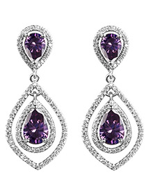 Elegant Purple Waterdrop Shape Pendant Decorated Hollow Out Earrings
