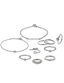 Fashion Silver Color Pearls&diamond Decorated Pure Color Simple Jewelry Sets