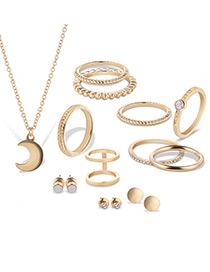 Fashion Gold Color Moon&diamond Decorated Pure Color Jewelry Sets