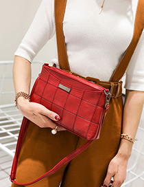 Fashion Red Grid Pattern Decorated Pure Color Simple Shoulder Bag