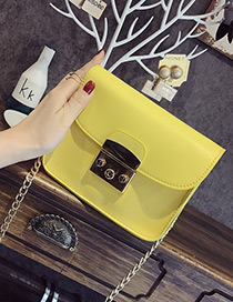 Fashion Yellow Buckle Decorated Pure Color Simple Shoulder Bag