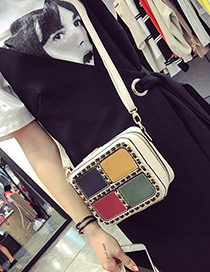Trendy White Color Matching Decorated Square Shape Shoulder Bag