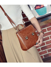 Fashion Brown Pure Color Decorated Square Shape Simple Backpack